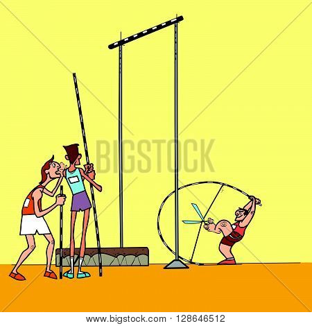 High jump athletes athletics. summer sports games. Humor in sports. Pole vault