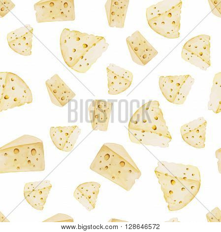 Watercolor cheese seamless pattern. Organic food illustration with cheese pieces. Eco farm food illustration.
