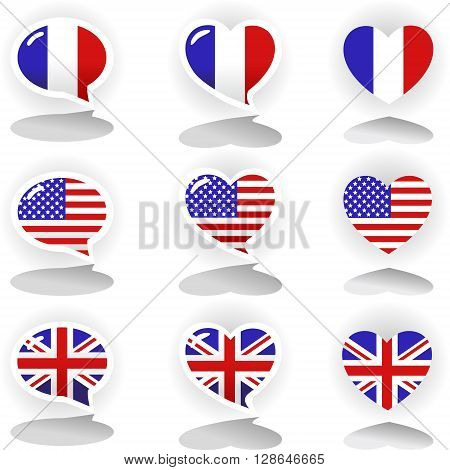Speech bubbles with symbols of national flags: France United Kingdom and United States of America. Speech bubble set