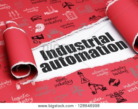 Manufacuring concept: black text Industrial Automation under the curled piece of Red torn paper with  Hand Drawn Industry Icons, 3D rendering