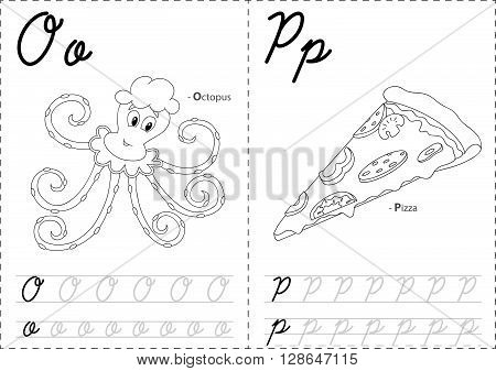 Cartoon Octopus And Pizza. Alphabet Tracing Worksheet: Writing A-z And Educational Game For Kids