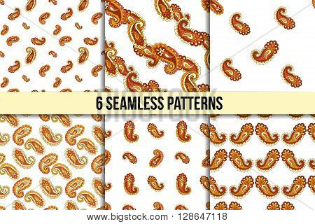 Seamless asian paisley pattern set. Asian paisley, six abstract vector backgrounds