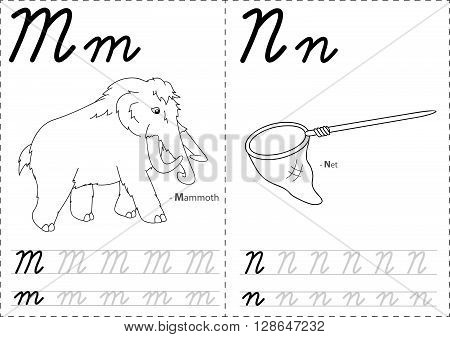 Cartoon Mammoth And Net. Alphabet Tracing Worksheet: Writing A-z And Educational Game For Kids