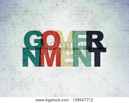 Political concept: Painted multicolor text Government on Digital Data Paper background