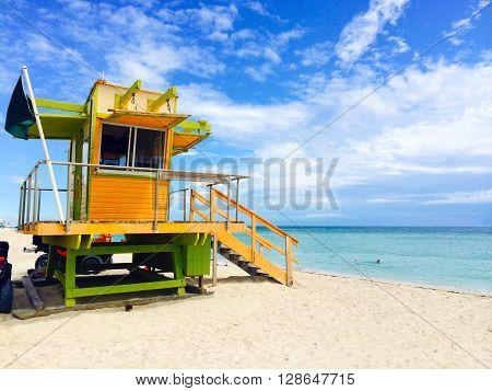 A lifeguard station on the Miami Beach