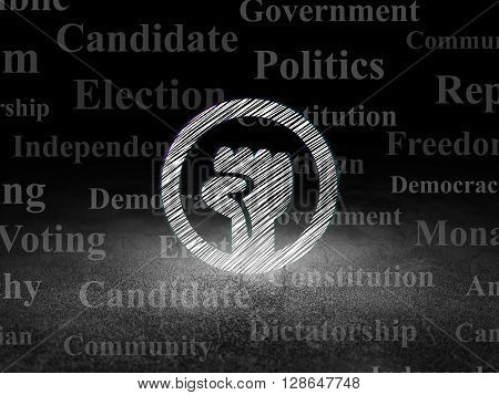 Politics concept: Glowing Uprising icon in grunge dark room with Dirty Floor, black background with  Tag Cloud