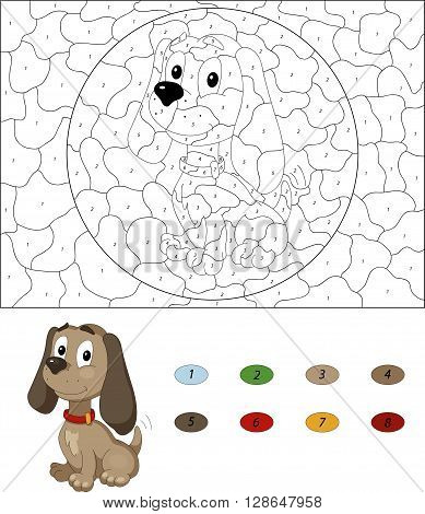Cartoon Dog. Color By Number Educational Game For Kids