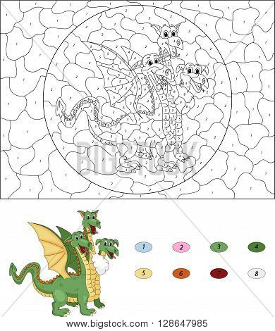 Cartoon Three Headed Dragon. Color By Number Educational Game For Kids