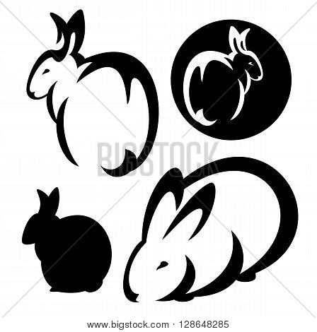 cute rabbits design set - black and white vector outlines and silhouette collection