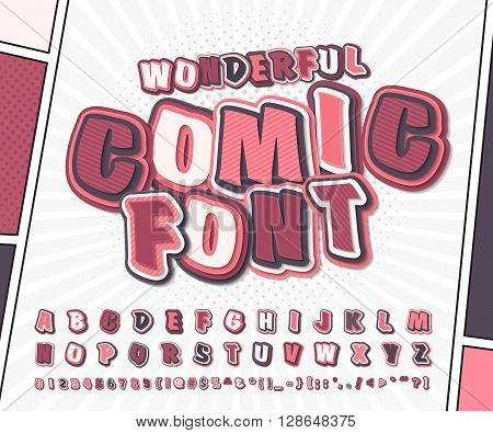 Wonderful pink high detail comic font and comic book page. Alphabet in style of comics, pop art. Multilayer funny letters and figures for illustrations, websites, posters, comics, banners