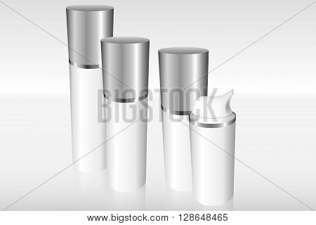 Four Airless Bottles With A Silver Cap