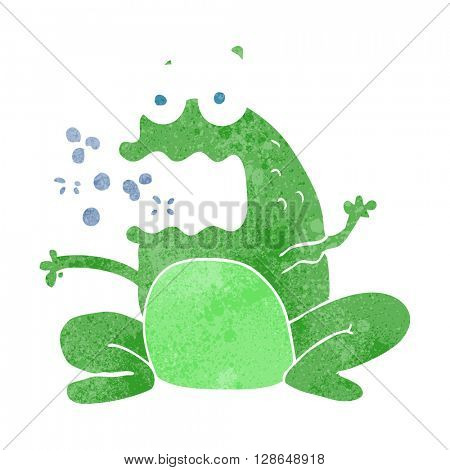 freehand retro cartoon burping frog