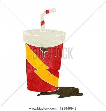 freehand retro cartoon junk food cola drink