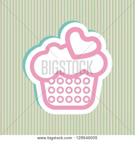 Card with a cream cake with pink and green bubles and heart shapes over a background in lines in outline style. Digital vector image.