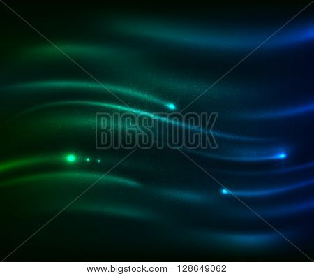 Beautiful  blue-green light glare. Cosmic glows and lighting effects with moving particles. Abstract vector illustration for your design