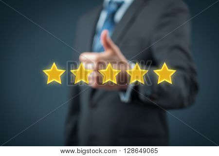 Review rating ranking evaluation and classification concept. Businessman is satisfied with company 5 stars rating.