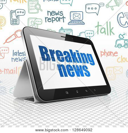 News concept: Tablet Computer with  blue text Breaking News on display,  Hand Drawn News Icons background, 3D rendering