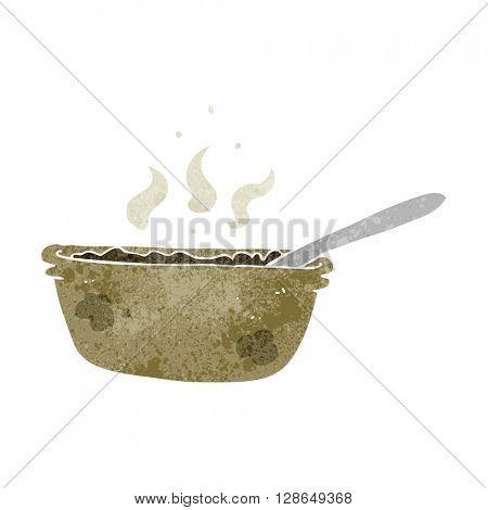 freehand retro cartoon bowl of stew