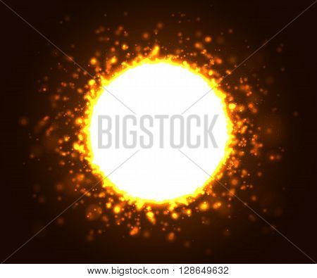 Beautiful gold light glare with with place for text. Cosmic glows and lighting effects with particles, sparkles, explosion and flash. Abstract vector illustration for your design