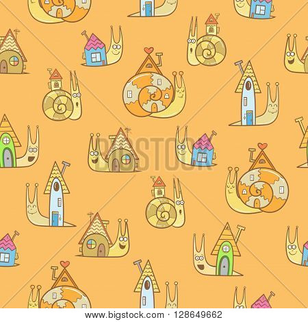 Seamless pattern with cute cartoon snails and their houses on  orange background. Vector image. Children's illustration.
