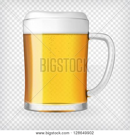 Realistic beer mug. Glass with light beer and bubbles. Graphic design element for a brewery ad, beer garden poster, flyers and printables. Transparent vector illustration.