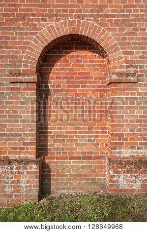 old brickwork framed doorway with space for copy text