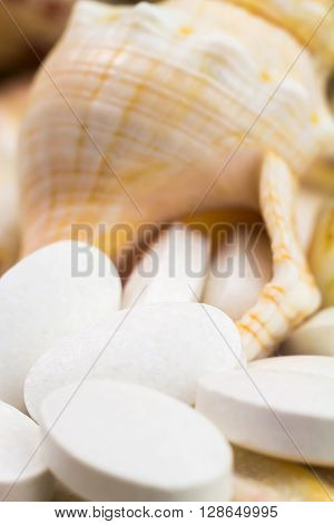 Calcium natural food supplement pills on the seashells background macro shot selective focus.