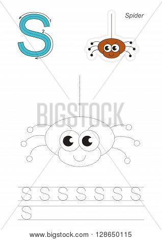Vector exercise illustrated alphabet. Learn handwriting. Gaming and education. Page to be traced. Kid game. Complete english alphabet. Tracing worksheet for letter S. The spider.