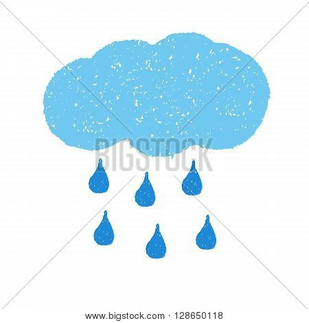 Cloud and Rain. Hand painted with oil pastel crayons. Weather forecast, summertime, climate,  meteorology concept. Graphic design element for seasonal poster, greeting card, scrapbooking, children book