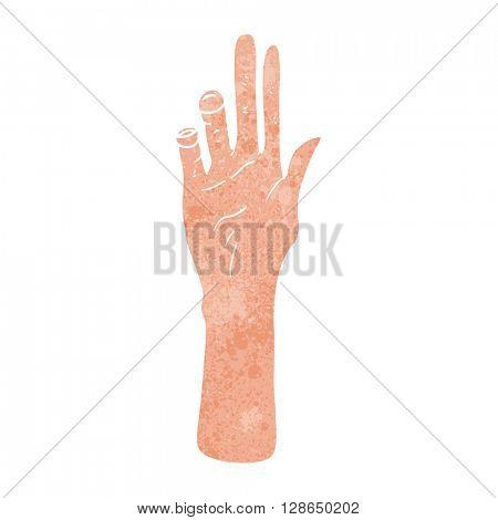 freehand retro cartoon reaching hand