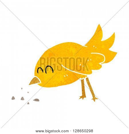 freehand retro cartoon bird pecking seeds
