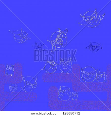 Seamless border pattern with cute owls. Stylish graphic design