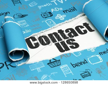 Marketing concept: black text Contact Us under the curled piece of Blue torn paper with  Hand Drawn Marketing Icons, 3D rendering