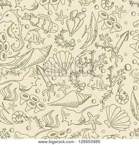 Life under water seamless retro line art design vector. Sea bottom separate objects. Hand drawn doodle design elements.