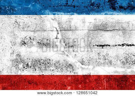 Autonomous Republic Of Crimea Flag Painted On Grunge Wall