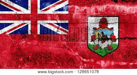 Bermuda Flag painted on grunge wall. Vintage and old look.