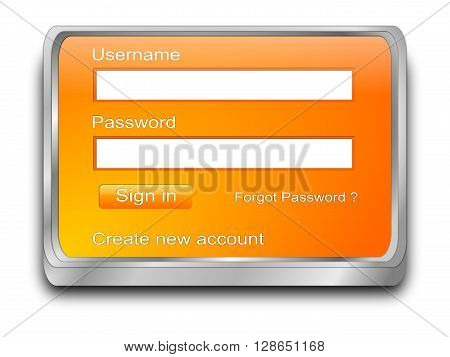 orange Login web Screen - 3D illustration
