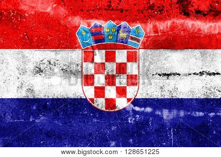 Croatia Flag painted on grunge wall. Vintage and old look.