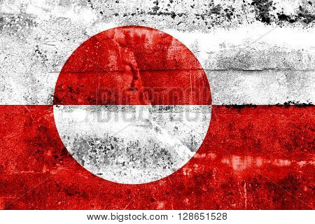 Greenland Flag painted on grunge wall. Vintage and old look
