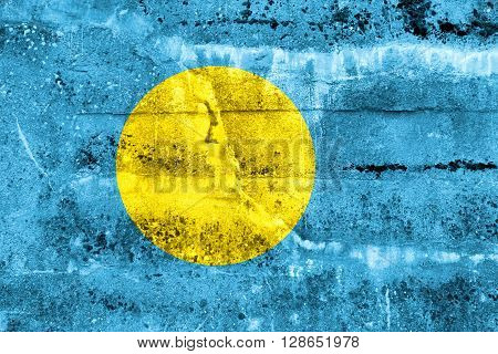 Palau Flag painted on grunge wall. Vintage and old look