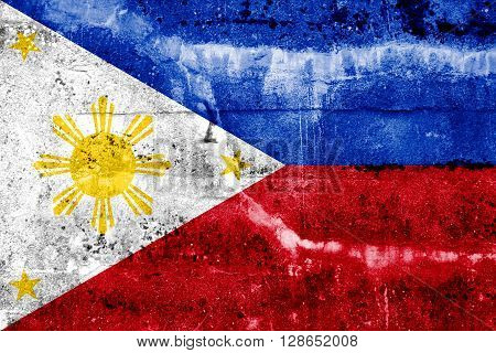 Philippines Flag painted on grunge wall. Vintage and old look.