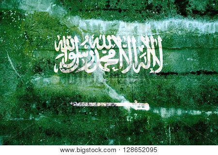 Saudi Arabia Flag Painted On Grunge Wall