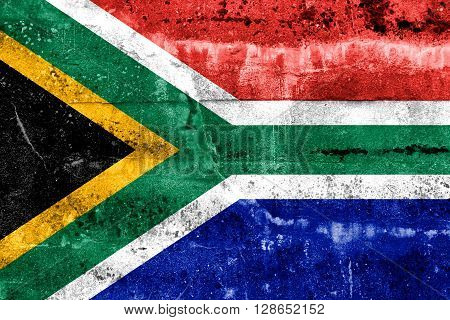 South Africa Flag Painted On Grunge Wall