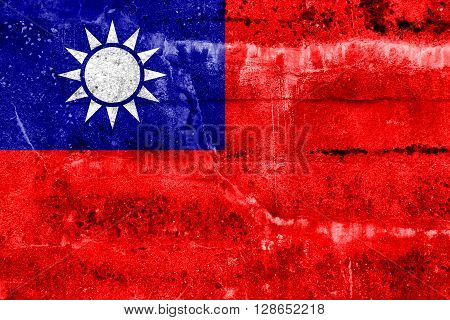 Taiwan Flag painted on grunge wall. Vintage and old look