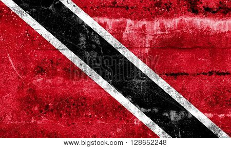 Trinidad And Tobago Flag Painted On Grunge Wall
