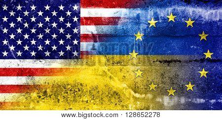 Ukraine, Eu And Usa Flag Painted On Grunge Wall