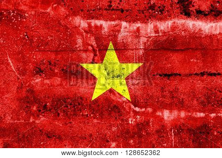 Vietnam Flag painted on grunge wall. Vintage and old look