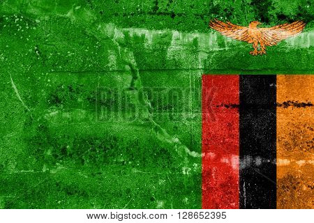 Zambia Flag painted on grunge wall. Vintage and old look