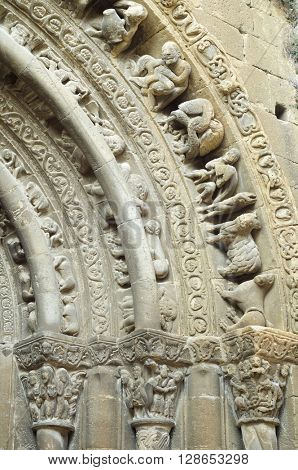 Romanesque church of Santa Maria in Uncastillo, Spain.