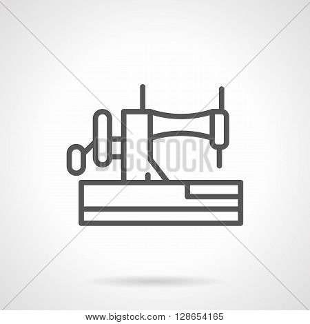 Side view of manual sewing machine with needle. Sewing craft equipment. Hobby and fashion. Household dressmaking and mending. Simple black line vector icon. Single element for web design, mobile app.